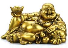 China Brass Yuan bao Wealth Gourd purse Toad Happy Laugh Maitreya Buddha Statue