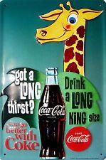 Coca Cola Giraffe Blechschild Schild 3D geprägt gewölbt Tin Sign 20 x 30 cm