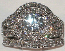 Halo Queen Anne 3.48 Ct. Cubic Zirconia Bridal Wedding Ring Set - SIZE 6