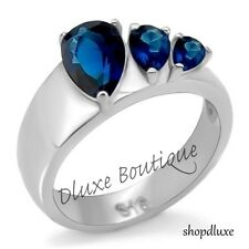 WOMEN'S THREE STONE PEAR SHAPE BLUE MONTANA SAPPHIRE BIRTHSTONE ANNIVERSARY RING