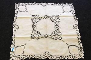 "Beige Vintage Cotton Handmade Battenburg Lace Embroidery 33"" Square Tablecloth"
