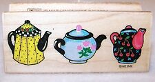 NEW 1994 ALL NIGHT MEDIA Wood Rubber Stamp TEAPOT BORDER 831E MARY ENGELBREIT