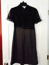 MUST SEE!!  DRESSBARN RUFFLE FRONT DRESS W/POLKA DOT SKIRT & PATENT BELT! SZ 4