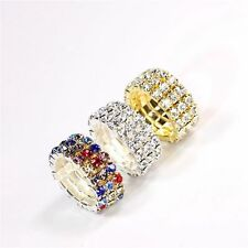 Multilayer 1-5rows Crystal Clear Rhinestone Shiny Elastic Ring For Women bridal