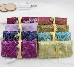 Wholesale5pcs Chinese Handmade Vintage Silk Jade Jewelery Rolls Pouch Gift Bag