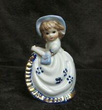 Victorian Lady Bell White, Blue, and Gold Color Glazed Porcelain Collectible