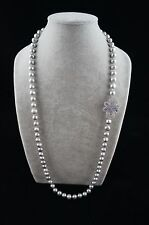 Round Baroque 34 inches long 10-11 mm Gray Pearl Necklace with Ornament