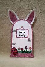 Pink Easter Bunny Fairy Door Wooden Handpainted Glitter Easter Bunny Fairy Door