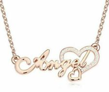 ROSE GOLD PLATED ANGEL WORD CRYSTAL HEART PENDANT NECKLACE
