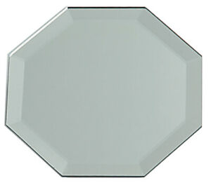 Octagon Glass Mirror Placemat With Bevel Edge 12 Inches