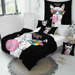 Llama Duvet Cover Rainbow Bedding Set Pink Cartoon Alpaca Unicorn Bed Coverlet