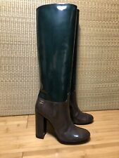 Chanel Patent Knee High Heel Leather Riding Boots Brown Forest Green Eu 38 New