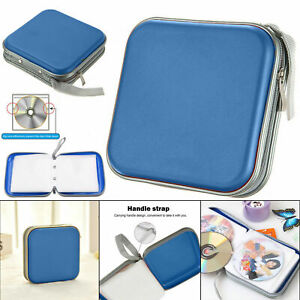40 Disc Disk CD/DVD Case Sleeve Plastic Bag Portable Wallet Holder Storage Blue