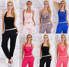 Women's Holiday Jumpsuit Halter Neck Lace Catsuit Overall inc Belt 7 colors UK