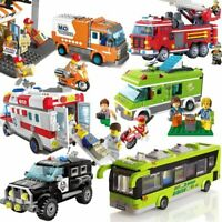 City Police Sanitation Ice Cream Car Truck Building Blocks Sets Bricks Kid Toys