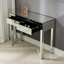 Silver Mirrored Table Home Vanity Make-up Desk Console with 2 Drawers Furniture