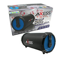 Portable Rechargeable Bluetooth Ready Cylinder Speaker + USB SD FM Radio Blue