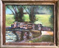 """Bridge Pond 24""""x20"""" Original Oil Painting Wood Frame Signed Art Artist Landscape"""