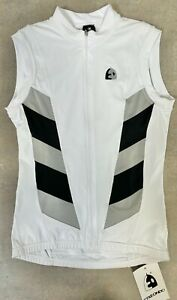 MENS Sleeveless Cycling Jersey in White / Black - Made in Spain by ETXEONDO