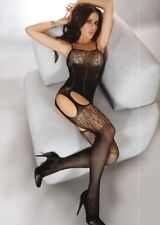 Ladies classic black sexy bodystocking suspender style bedroom intimate lingerie