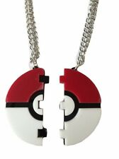 "Pokemon POKEBALL Split BFF Pendant Necklace on 22"" Chains"