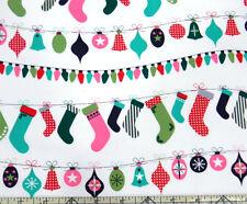 Michael Miller Deck The Halls Christmas Light Stocking Multi Fabric