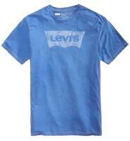 99 LEVI S Men s BLUE WHITE LOGO GRAPHIC SHORT-SLEEVE CREW-NECK TEE T- 39a5f2c288c