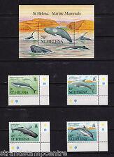 St Helena - 1987 Marine Mammals - U/M - SG 509-12 + MS513