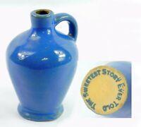 "Blue Glazed Pottery Pitcher Bud Vase Marked ""The Sweetest Story Ever Told"""