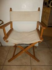 Vintage Folding Directors Chair Canvas Wooden Frame Captains Chair Beige