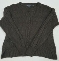 VINCE. Taupe Brown Chunky Cable Knit Yak & Wool Blend Pullover Sweater SZ M