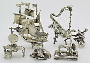 7 x Vintage Solid Silver Italian Made JOB LOT Figurines, Marked, DEFECT NO SCRAP