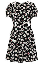 Topshop Floral Daisy Black White Cut Out Vintage Celebrity Skater Tea Dress UK4p