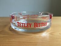 Vintage Small Heavy Glass TETLEY BITTER Branded Advertising Pub Ash Tray Salvage