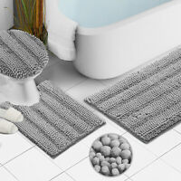 Chenille 3 PC Bath Mat Set Extra Soft Absorbent Medium Contour Toilet Lid Cover