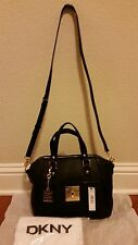 DKNY Black Leather Satchel Bag Purse T-Lock NWT RETAIL $345 RN 68596
