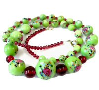 Vintage Green & Garnet Glass Graduating Bead Necklace - GIFT BOXED