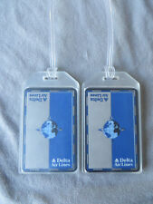 DELTA AIRLINES CUSTOM LUGGAGE TAGS SET OF 2 - EARTH COMPASS  - BAG NAME TRIP ID