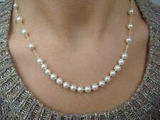 ! MIKIMOTO AUTHENTIC 18K YELLOW GOLD HIGH END AKOYA PEARL NECKLACE 17 INCH LONG