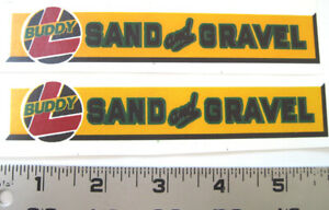 Replacement water slide decal set for Buddy L Sand and Gravel truck yellow/green
