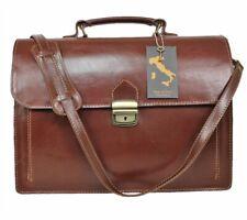 Herren Aktentasche Leder Messenger Bag Umhängetasche Damen Laptop Tasche Braun