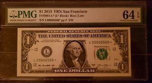 2013 $1 San Francisco Star Note L00006560* Low Serial Number Only 80k Run RARE