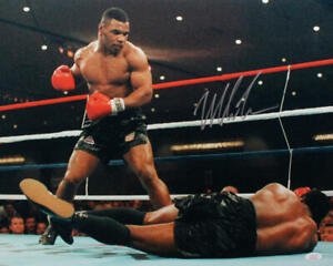 Mike Tyson Autographed 16x20 Standing Over Photo- JSA W Auth *Silver
