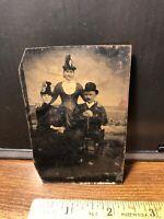 Antique Civil War Era 2 Women & Man  with Hats Tintype  Photo Photograph Vintage