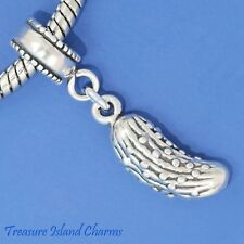 Pickle Cucumber .925 Solid Sterling Silver European Dangle Bead Charm Euro