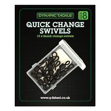 10 SIZE 8 QUICK CHANGE SWIVELS + BOX CARP FISHING TERMINAL RIG TACKLE