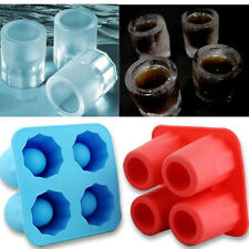 4-Trays Ice Cube Shot Silicion Cup Shooters Glass Freeze Molds Tray Party Moulds