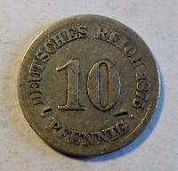 Deutsches Kaiserreich 10 Pfennig 1875 A - Kaiser Wilhelm I 1871-1888 - s/ss