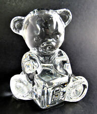 WATERFORD CLEAR CRYSTAL GLASS TEDDY BEAR WITH ABC BLOCK (E44)