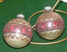 2 Vintage Shiny Brite Stencil Mica Mercury Glass Ball Christmas Tree Ornament